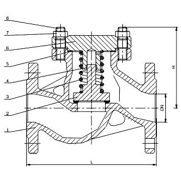 DIN Lift Check Valve Structure